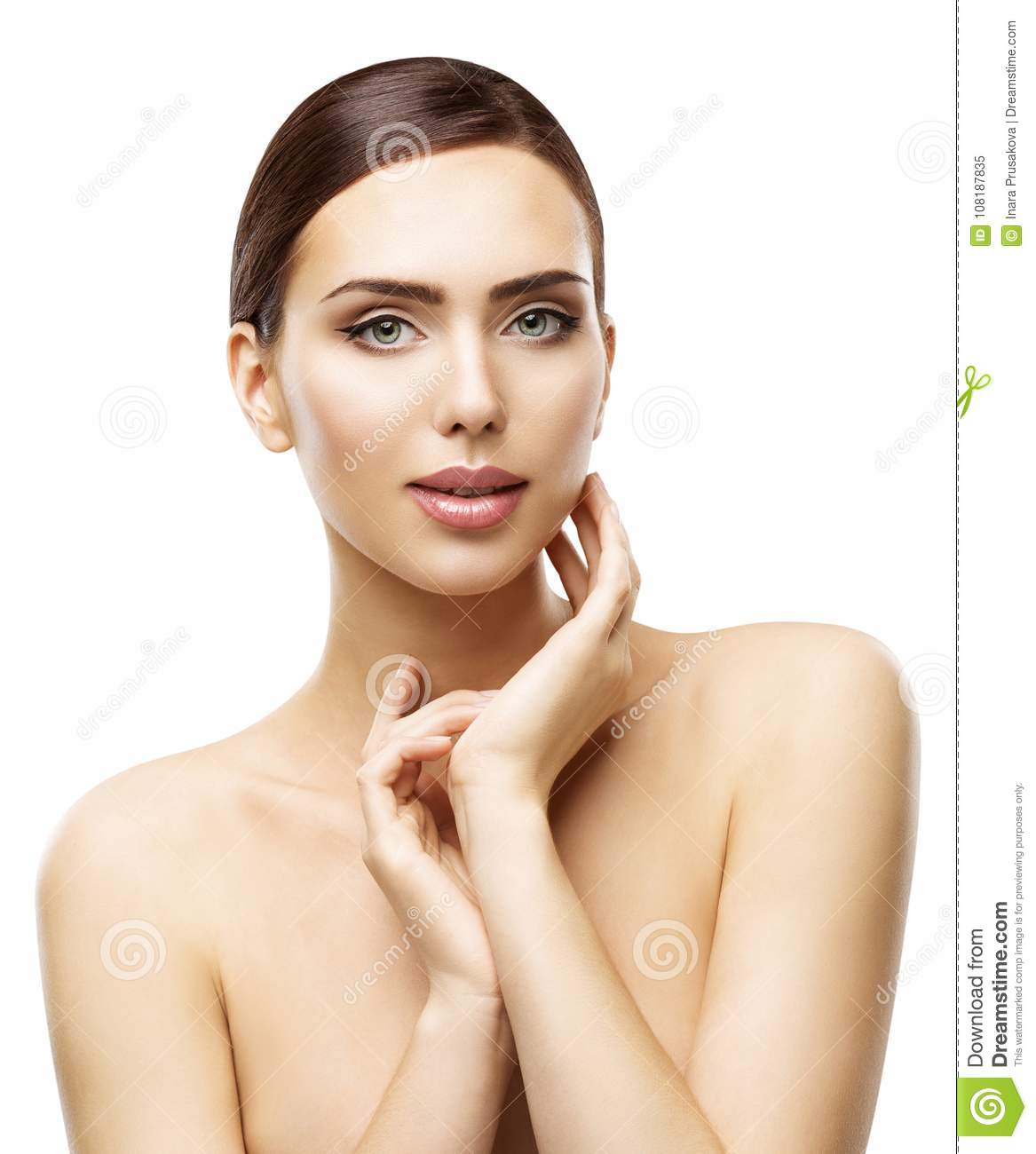Skin Care Model: Face Skin Care And Natural Beauty Make Up, Woman Touch