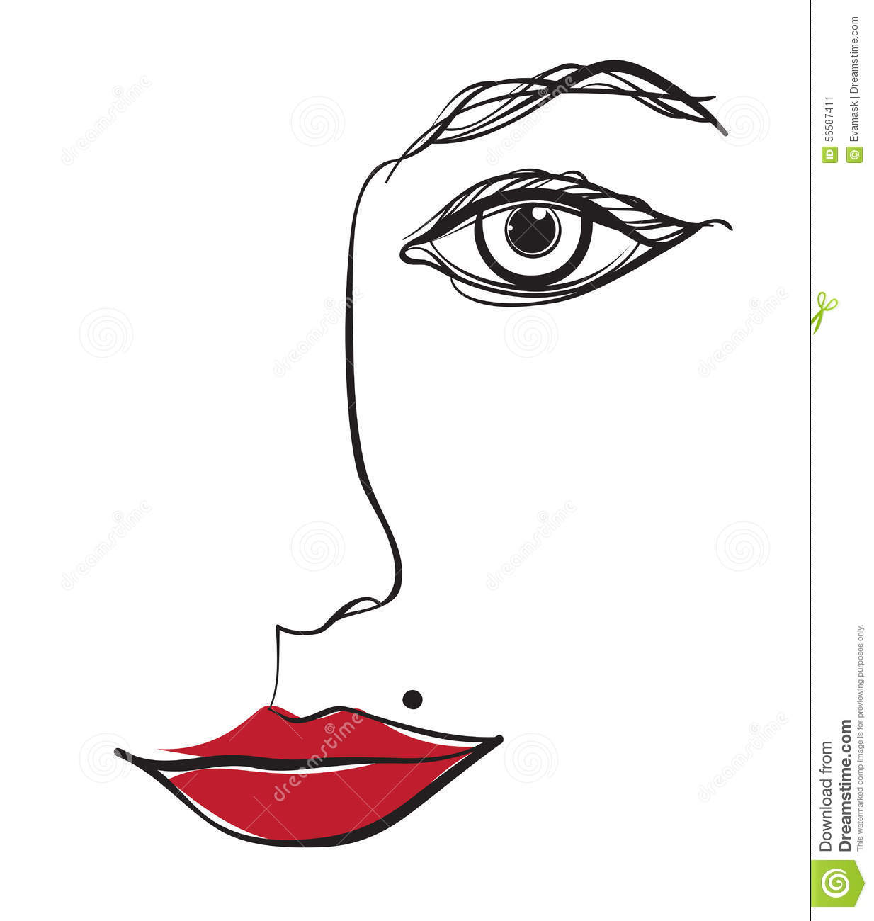 Line Drawing Female Face : Face stock vector image