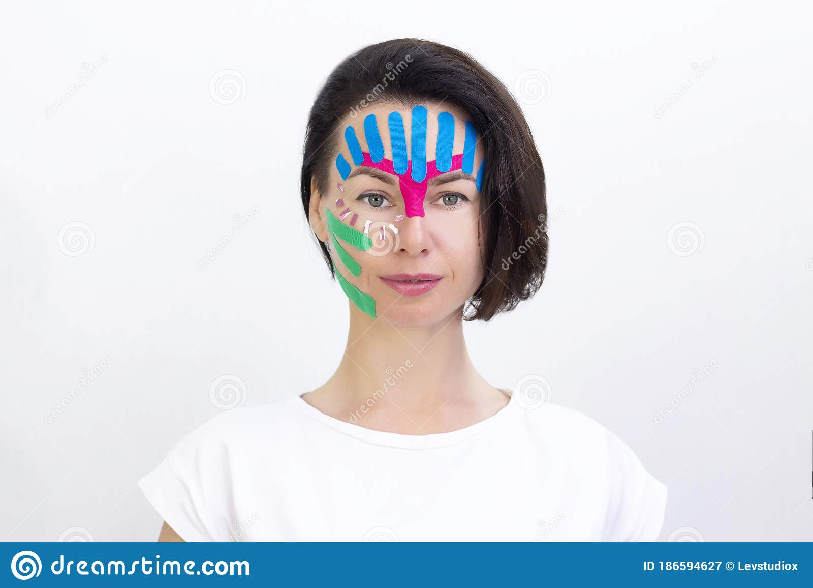 Face Taping Close Up Of A Girls Face With Cosmetologi Stock Image Image Of Beautician Girls 186594627