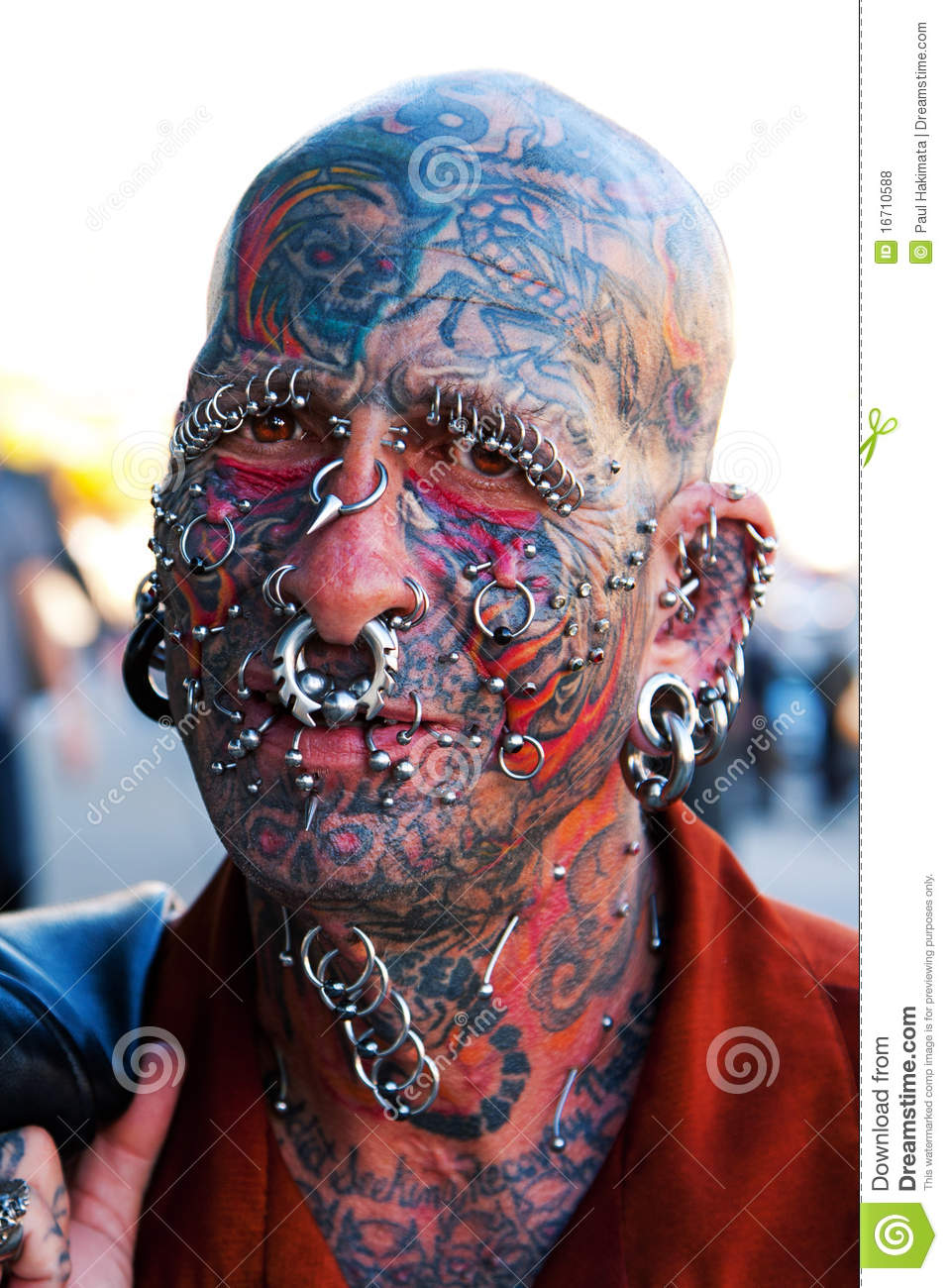 Face With Tattoos And Piercings Editorial Stock Photo Image Of Skull Text 16710588
