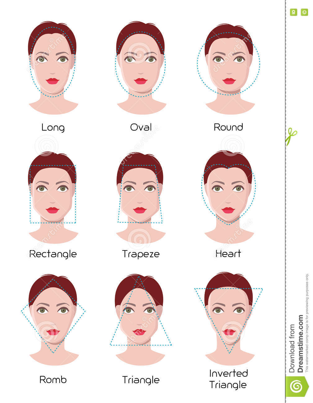 face type infographics stock vector illustration of female 74362122