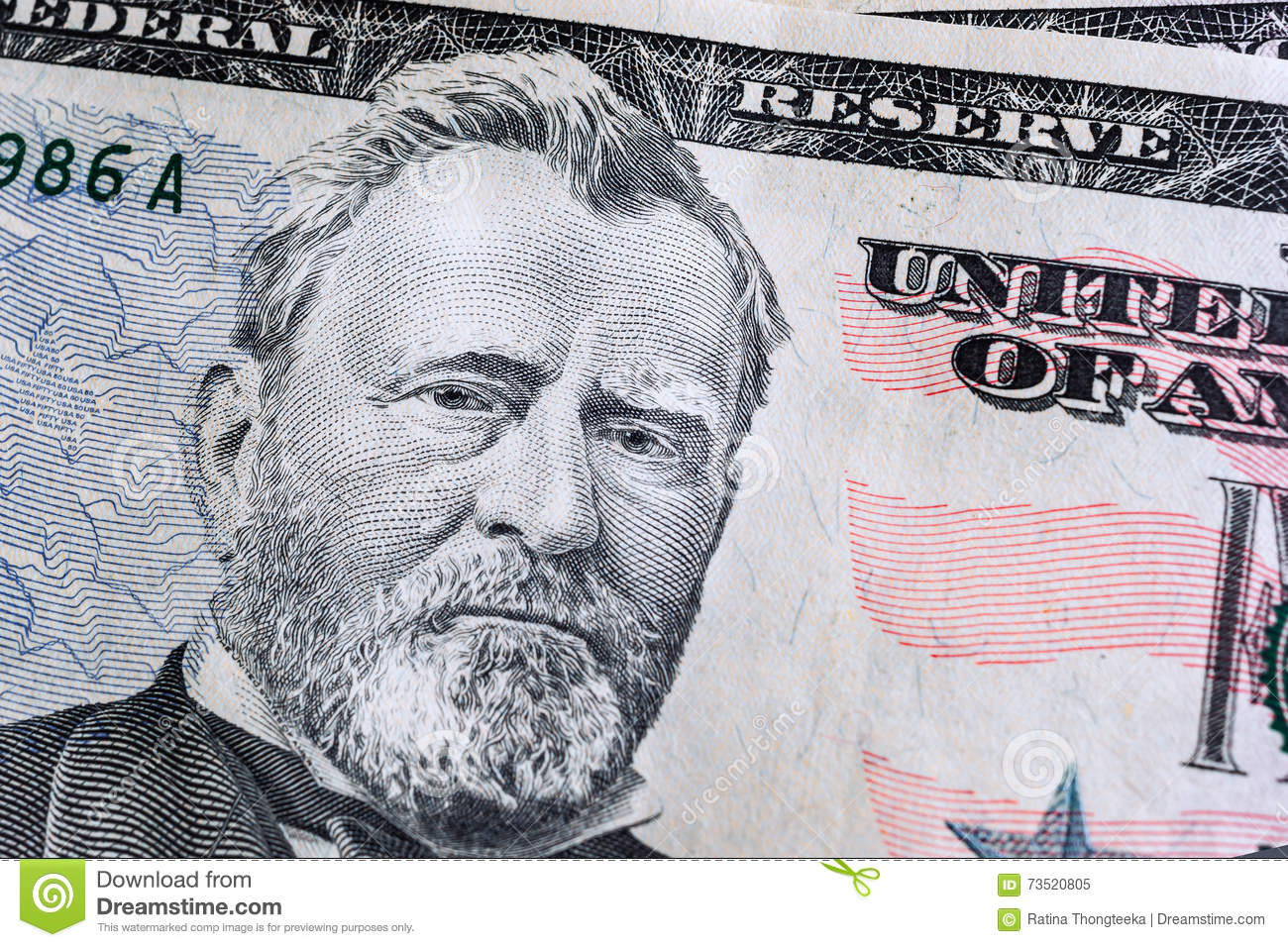 face on US fifty or 50 dollars bill macro, banknotes background