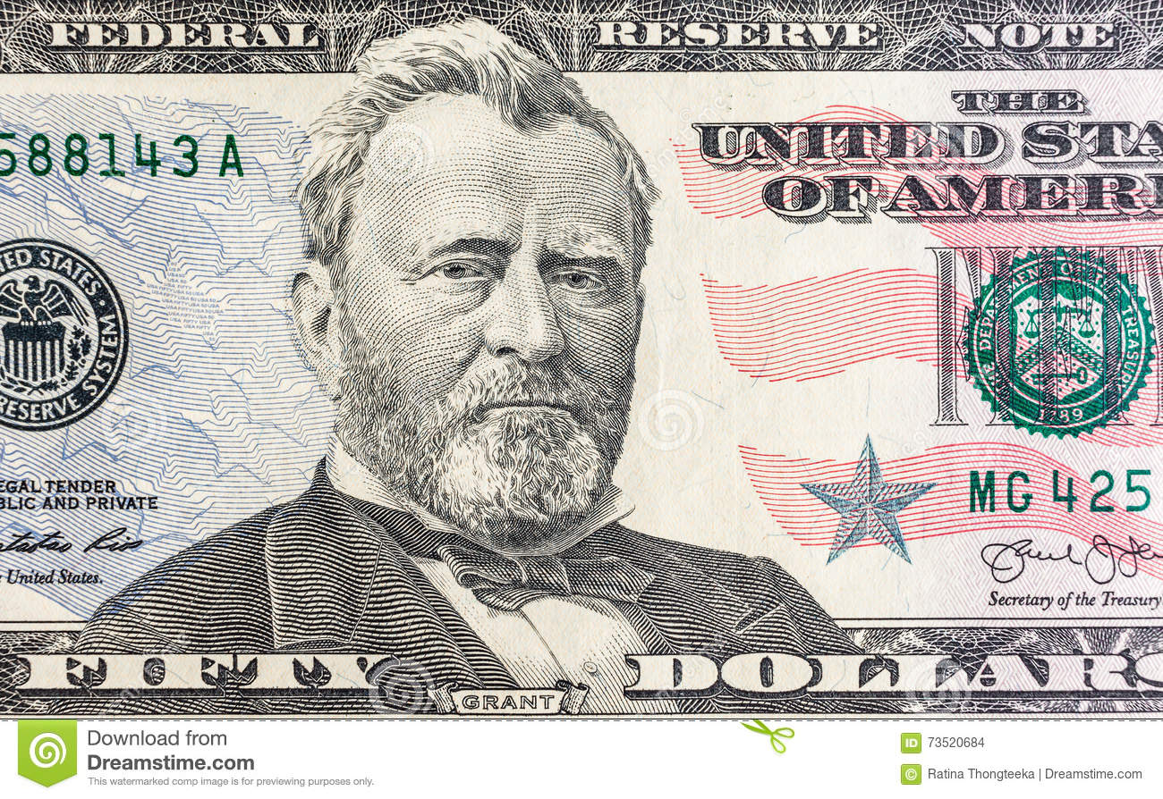 Face On US Fifty Or 50 Dollars Bill Macro, United States