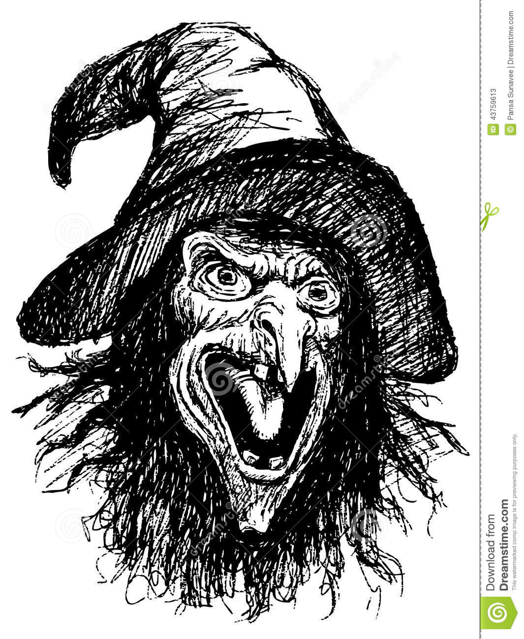 Line Drawing Of Witches Face : Stock photos face of witch image