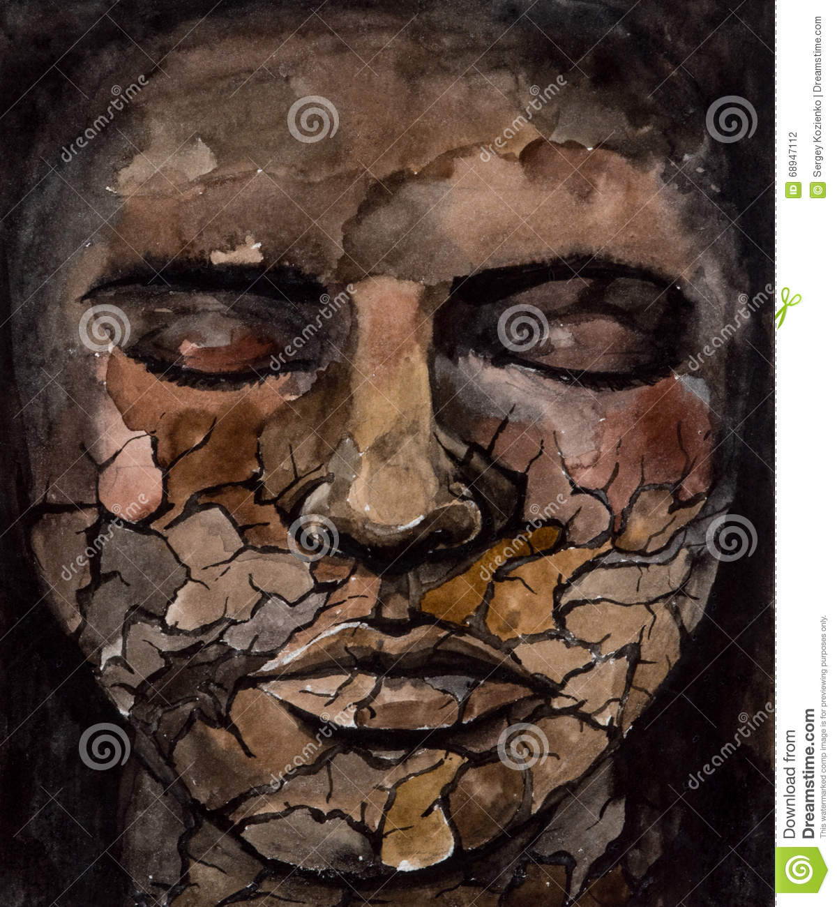 Face Of Woman With Closed Eyes Stock Illustration - Image ...