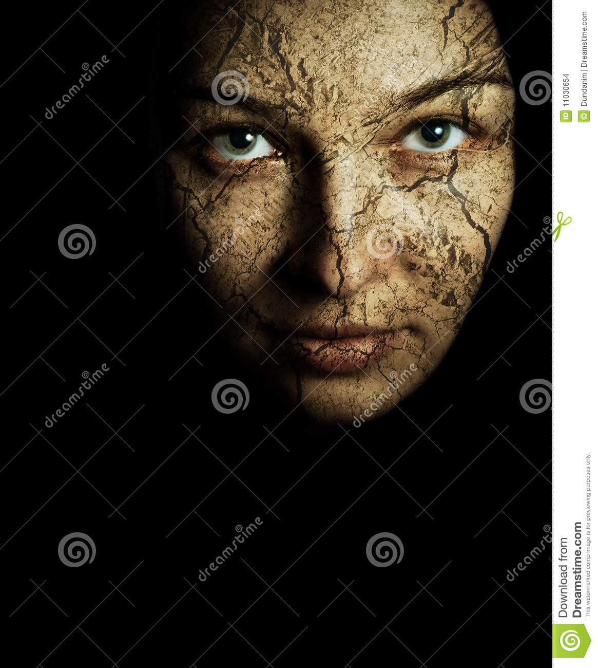 Face of woman with cracked dry skin