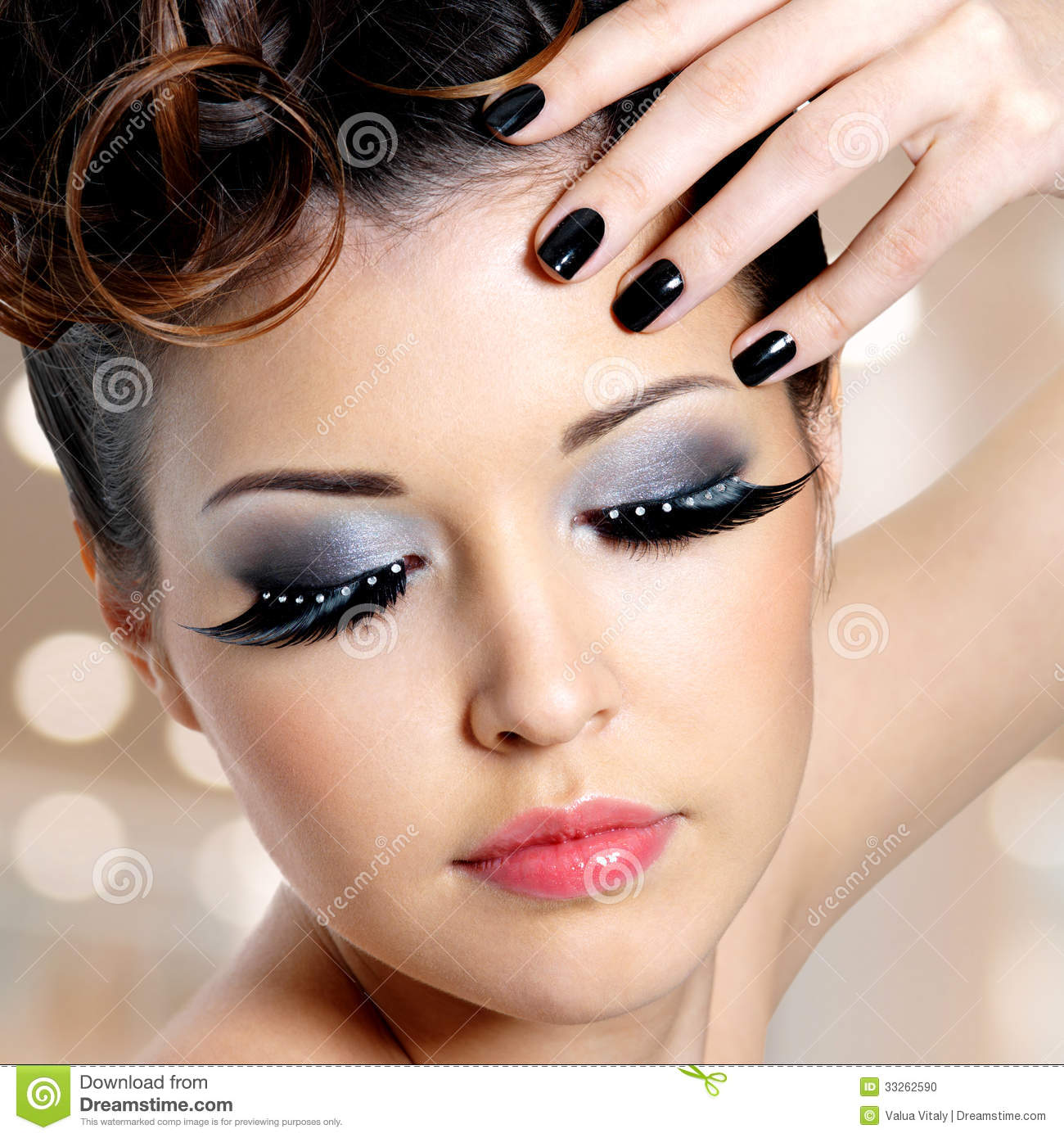 Face Of Woman With Fashion Eye Makeup Stock Photo