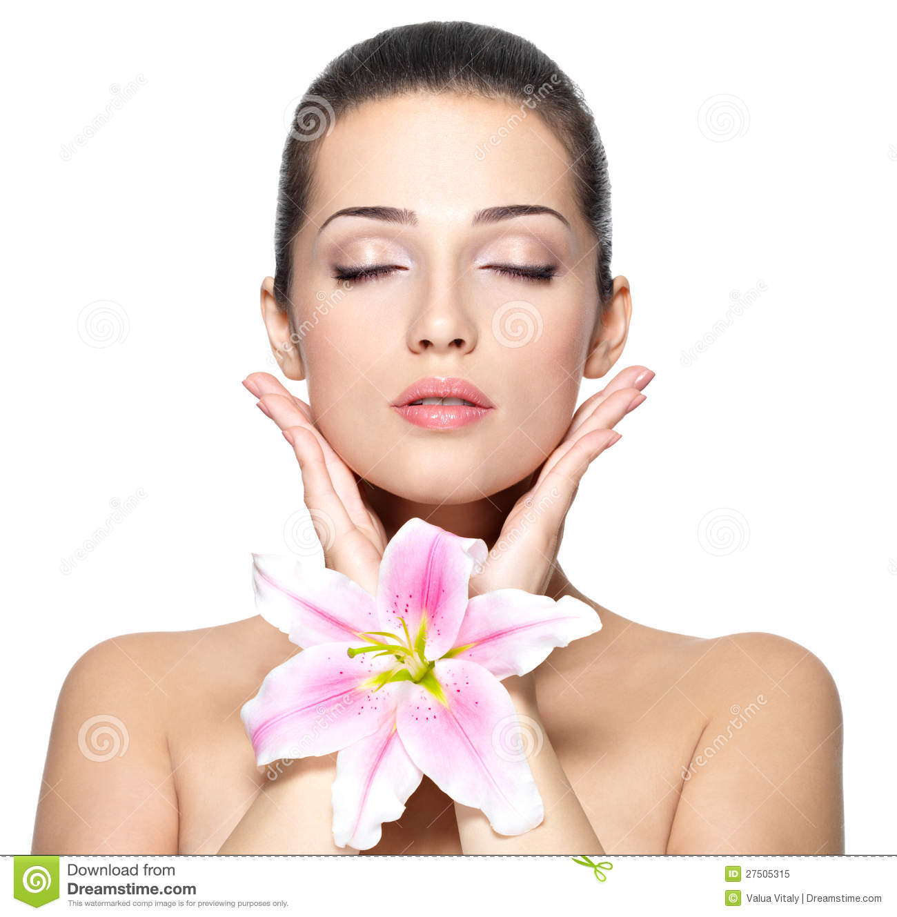 Face Of Woman With Flower. Beauty Treatment Royalty Free