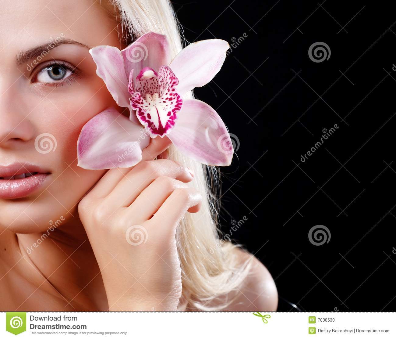 Face of woman and orchid stock photo. Image of flower ...