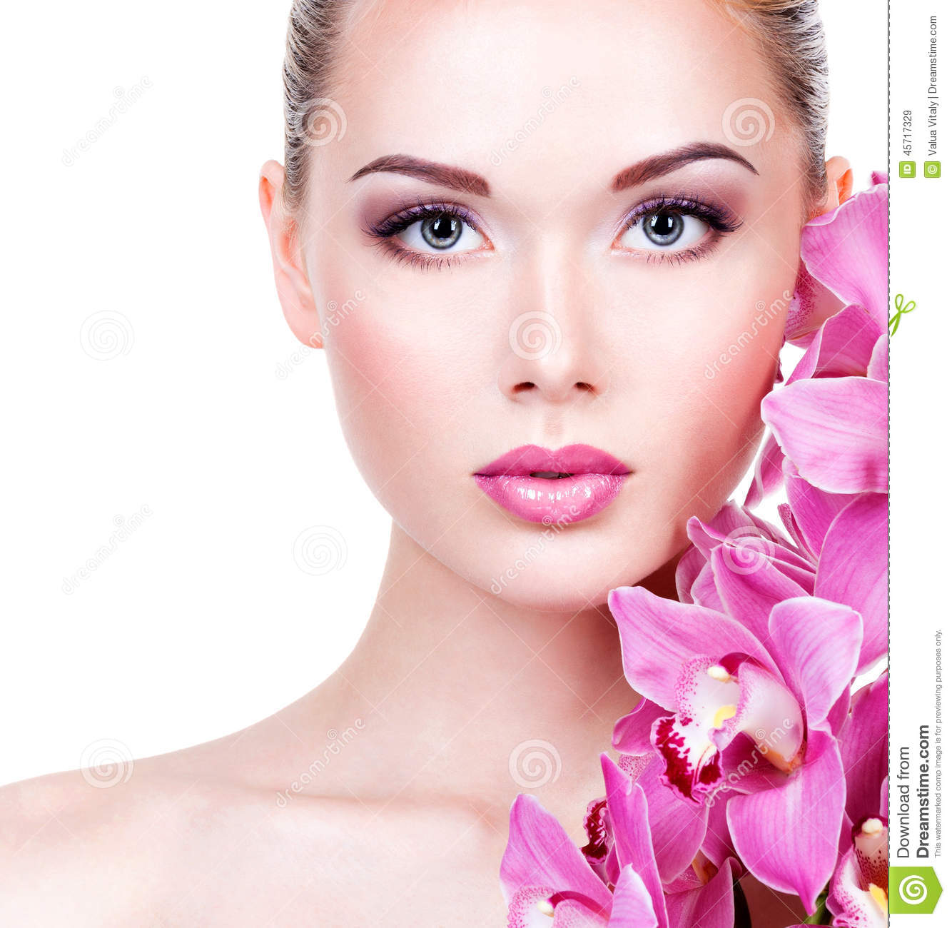 Face A Woman With Purple Eye Makeup And Lips Stock Image Image