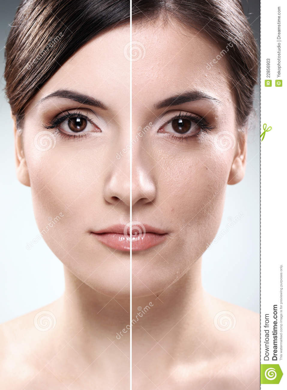 Before And After Bathroom Updates From Rate My Space: Face Of Woman Before And After Retouch Stock Photos