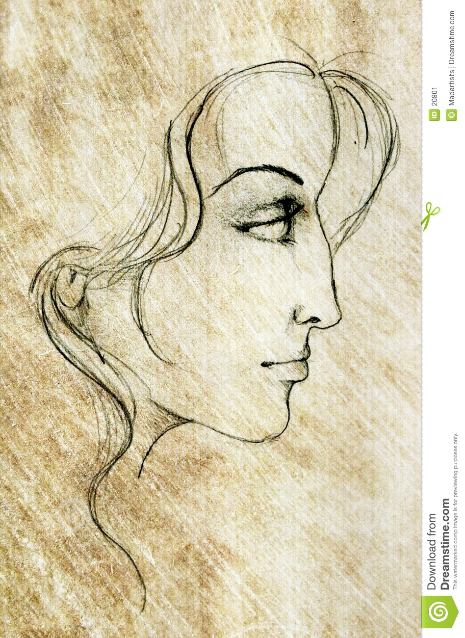 A pencil sketch of a female face digitally recreated for aged effect