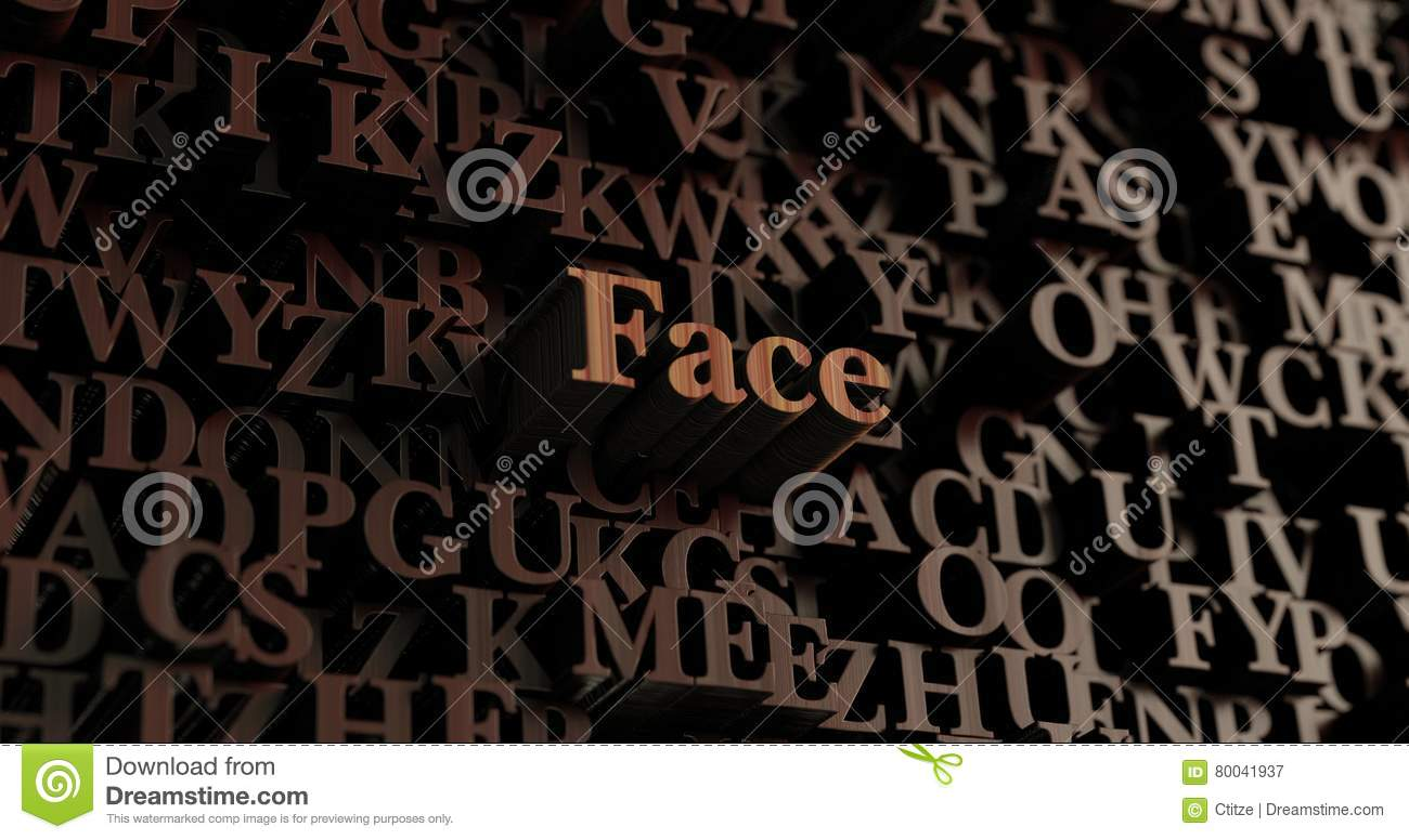 Face - Wooden 3D Rendered Letters/message Stock Illustration
