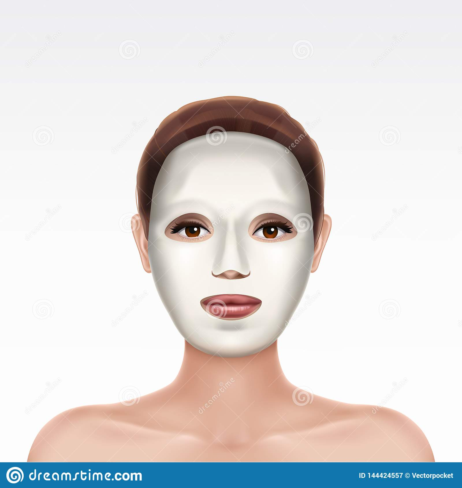 Face of young girl applying cosmetic facial mask