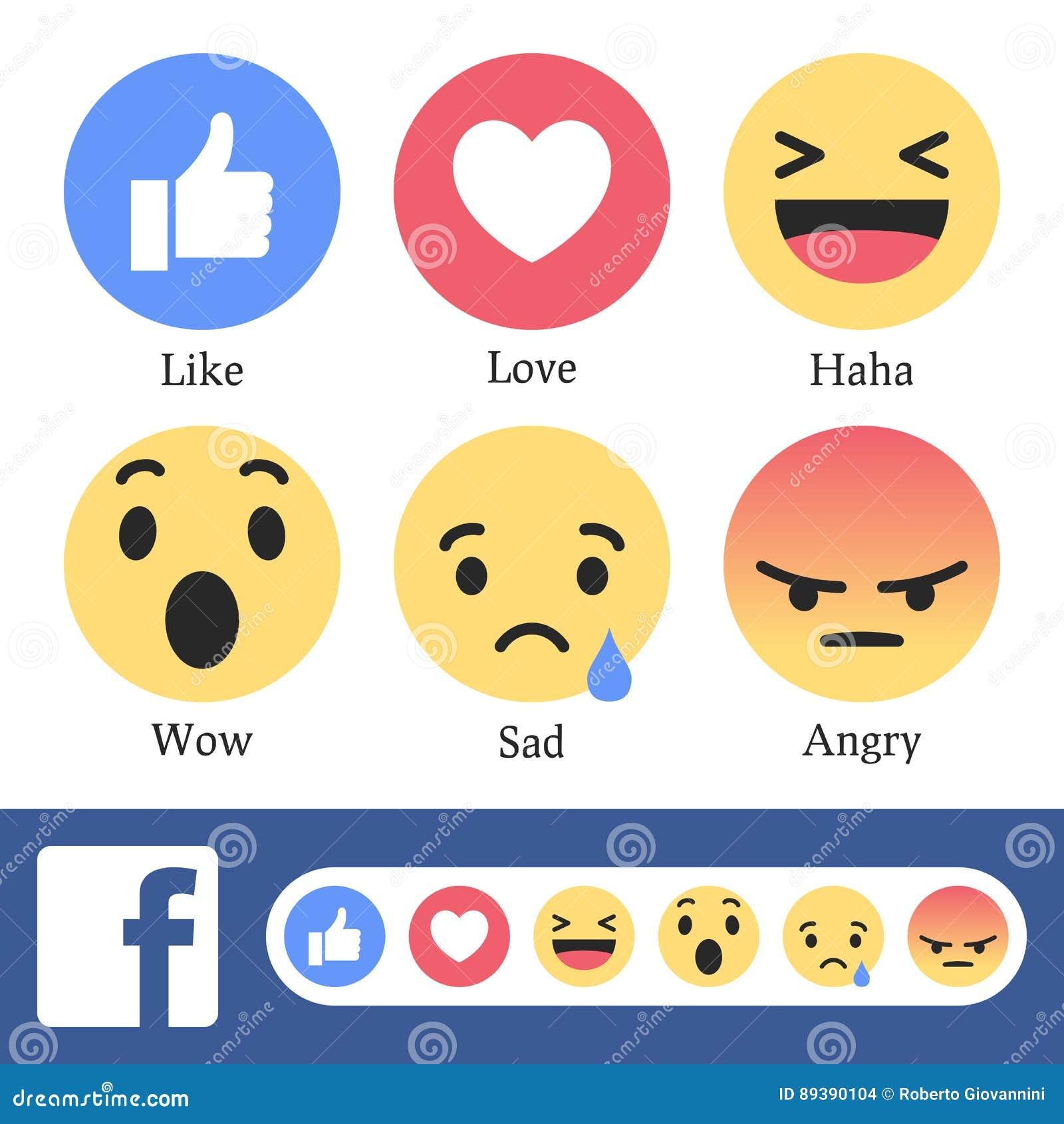 Facebook新象或反应按钮