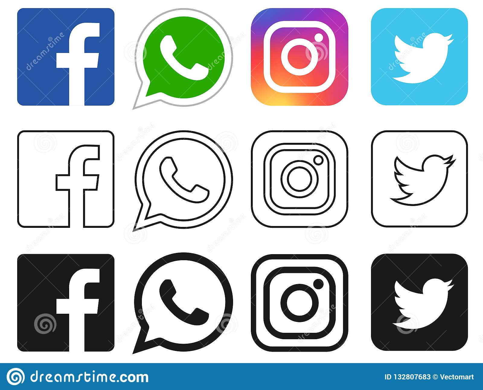 Facebook的,Whatsapp,Instagram,Twitter社会媒介象