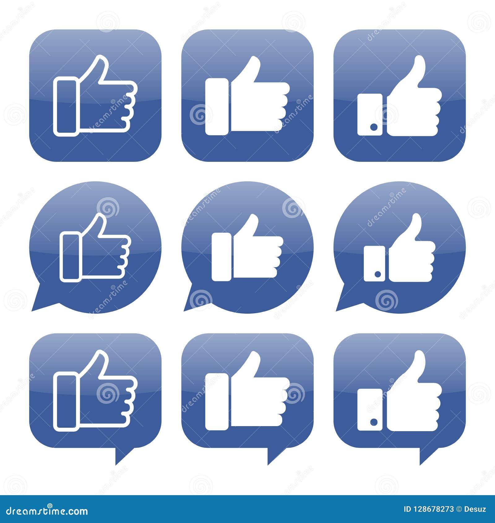 Facebook aiment la collection de vecteur d icône