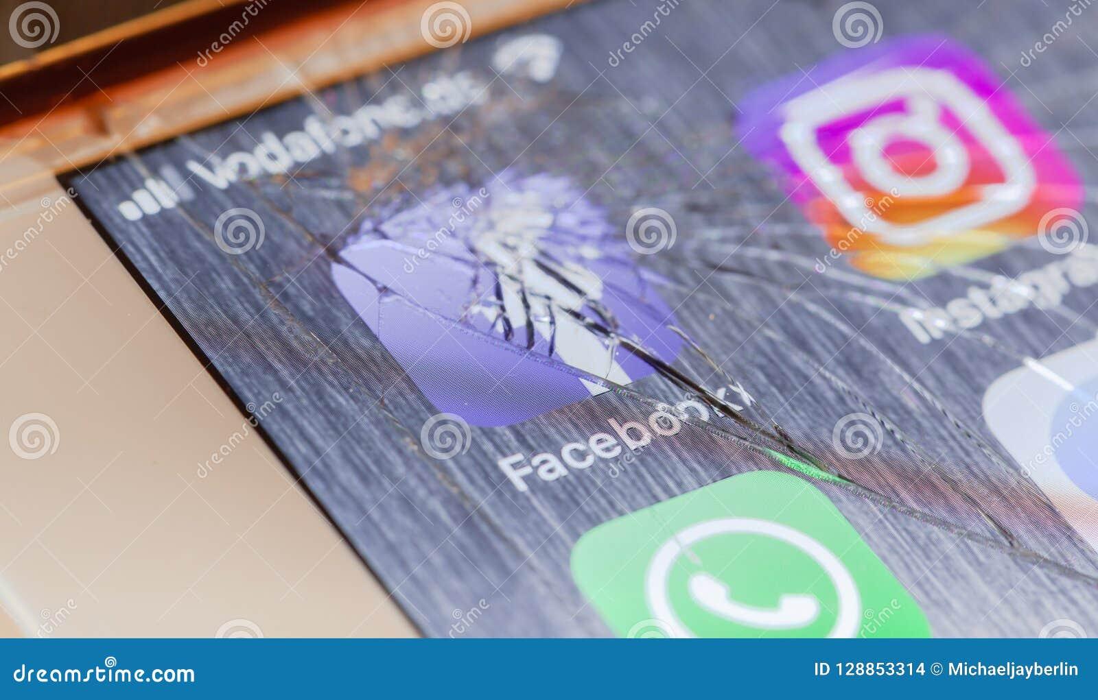 Facebook app on broken iPhone screen