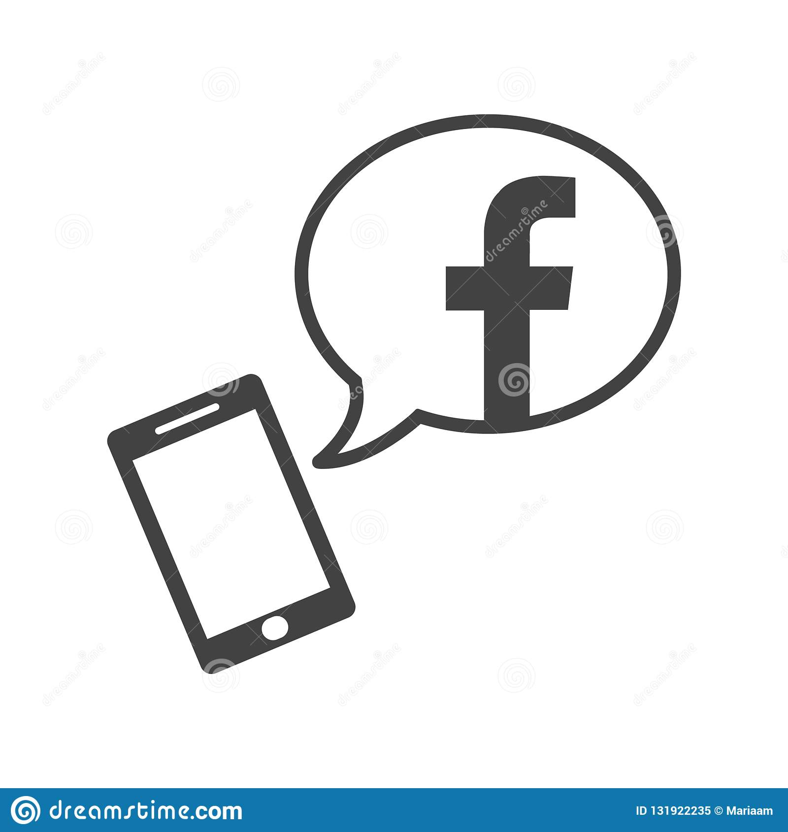Facebook App On Smartphone  Flat Icon With Speech Bubble