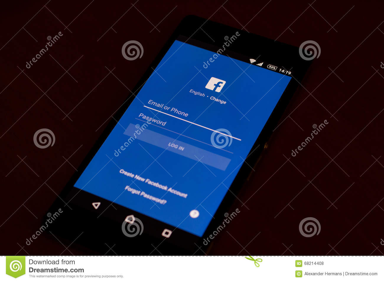 Facebook Application on a modern android smartphone