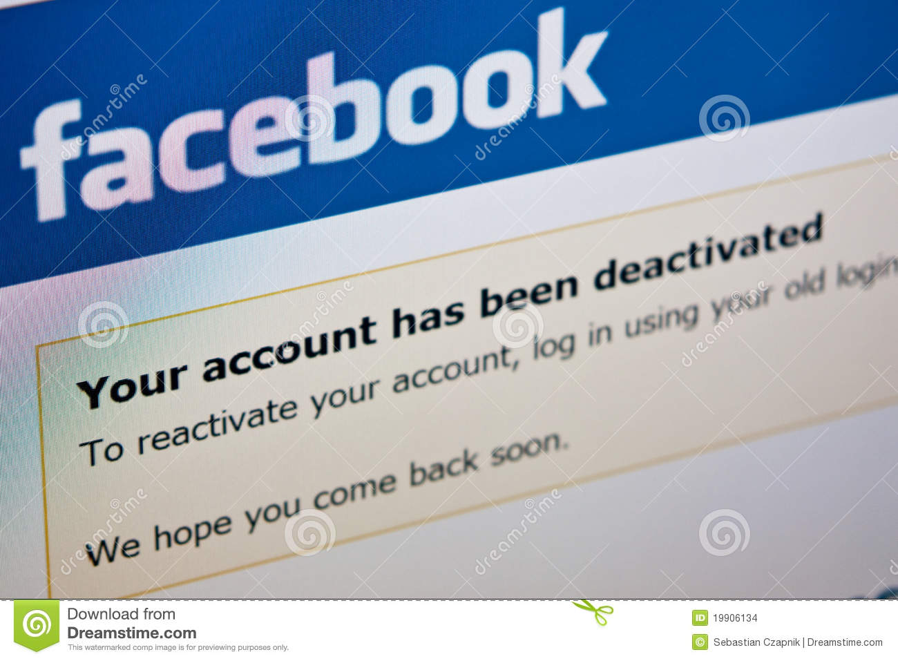 Facebook - Deactivate Account Editorial Stock Image - Image