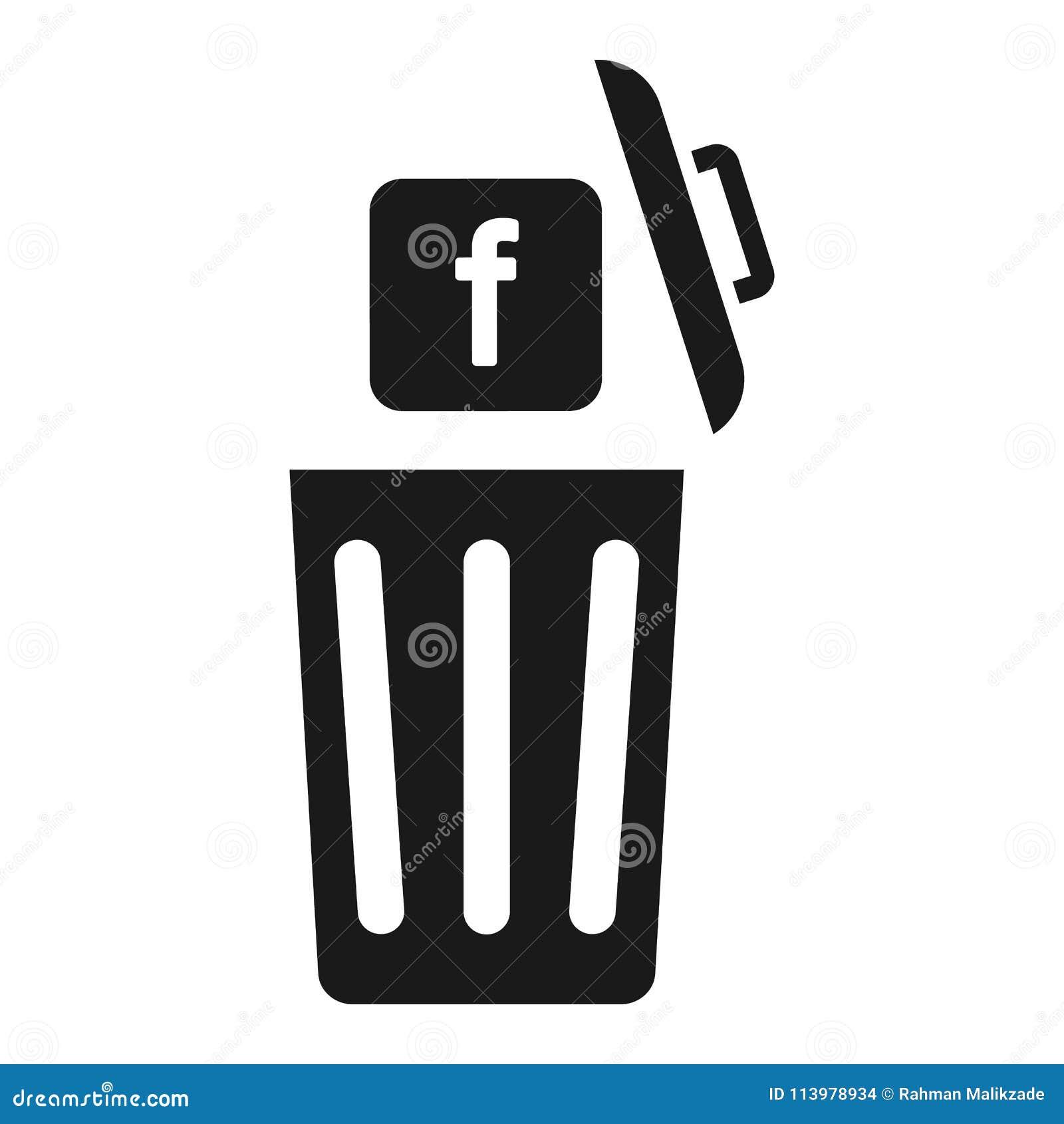 Facebook Delete The F Icon Throw Away Vector Icon Editorial Stock