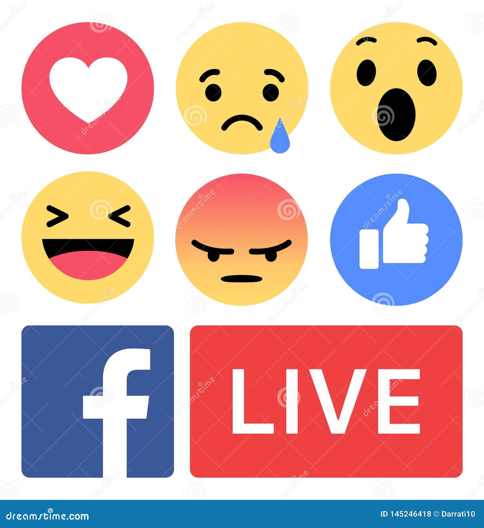 Facebook Emoji Like Live Love Editorial Stock Photo