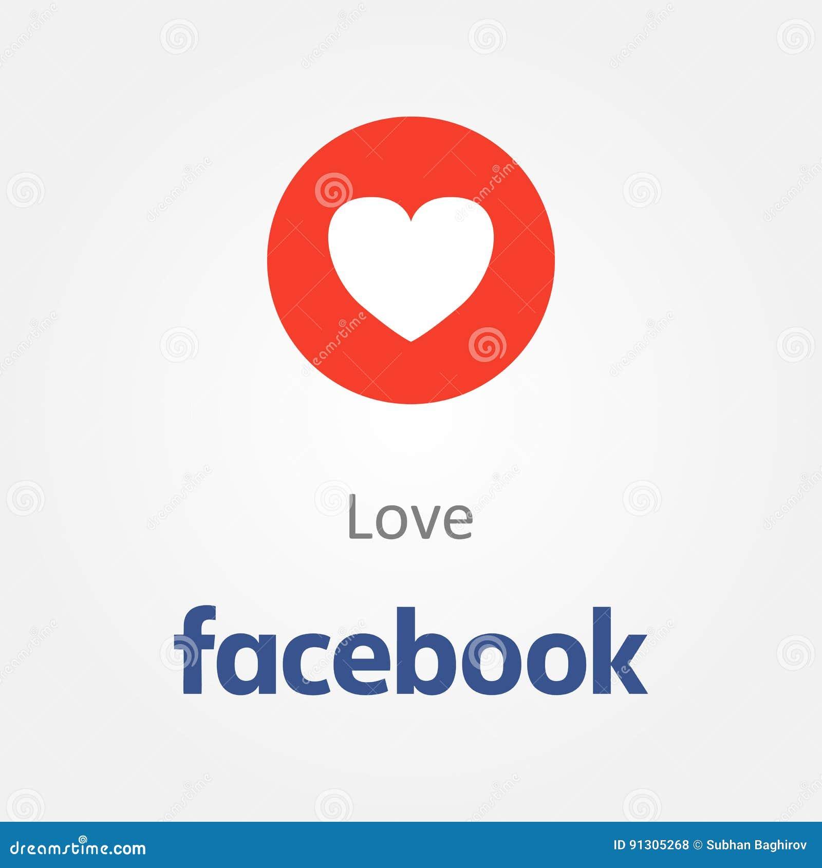 Facebook Emotion Icon Love Heart Emoji Vector Editorial Stock Photo