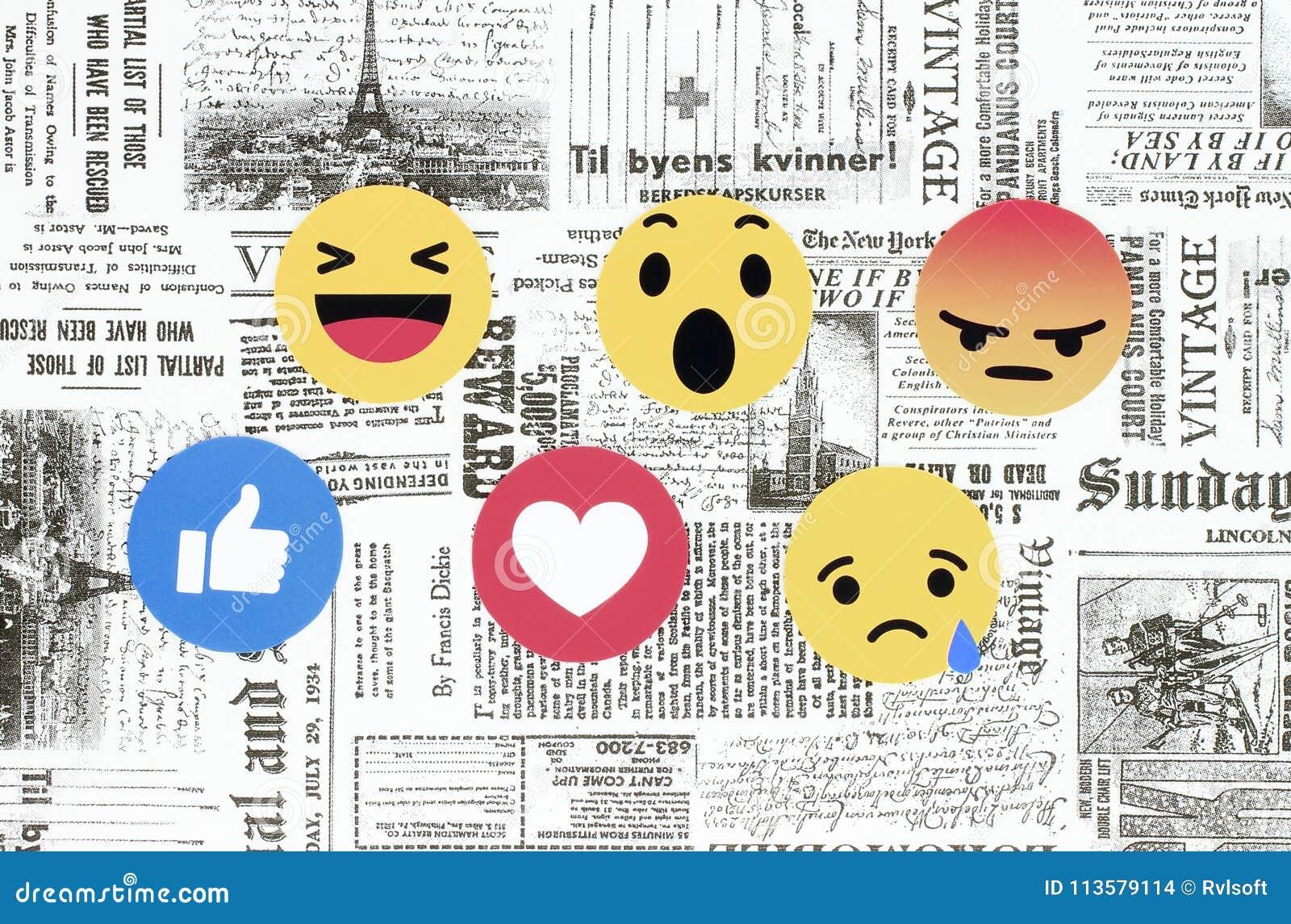 Facebook Empathetic Emoji Reactions on retro newspaper background