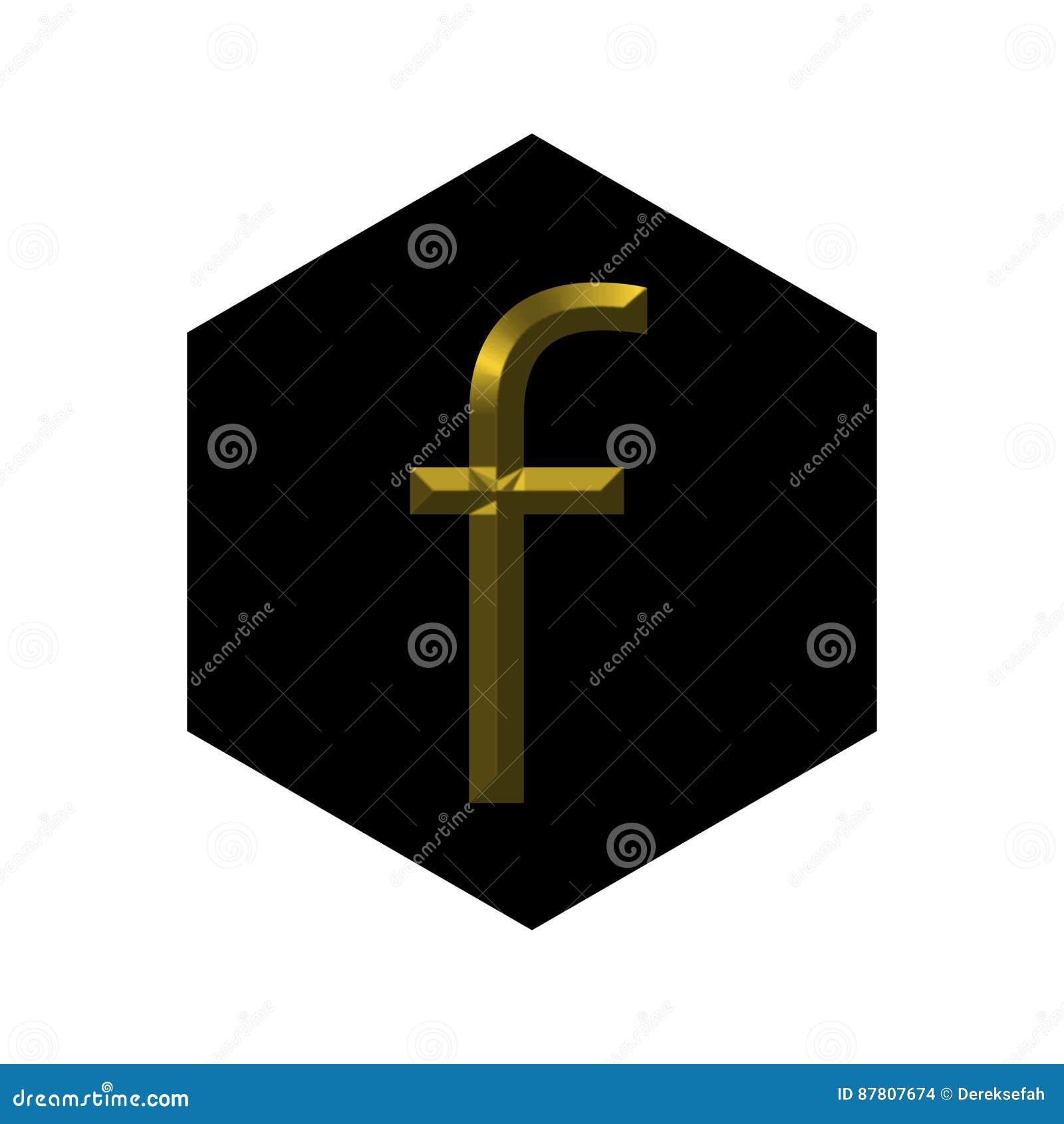 Facebook Golden Logo Stock Illustration Illustration Of