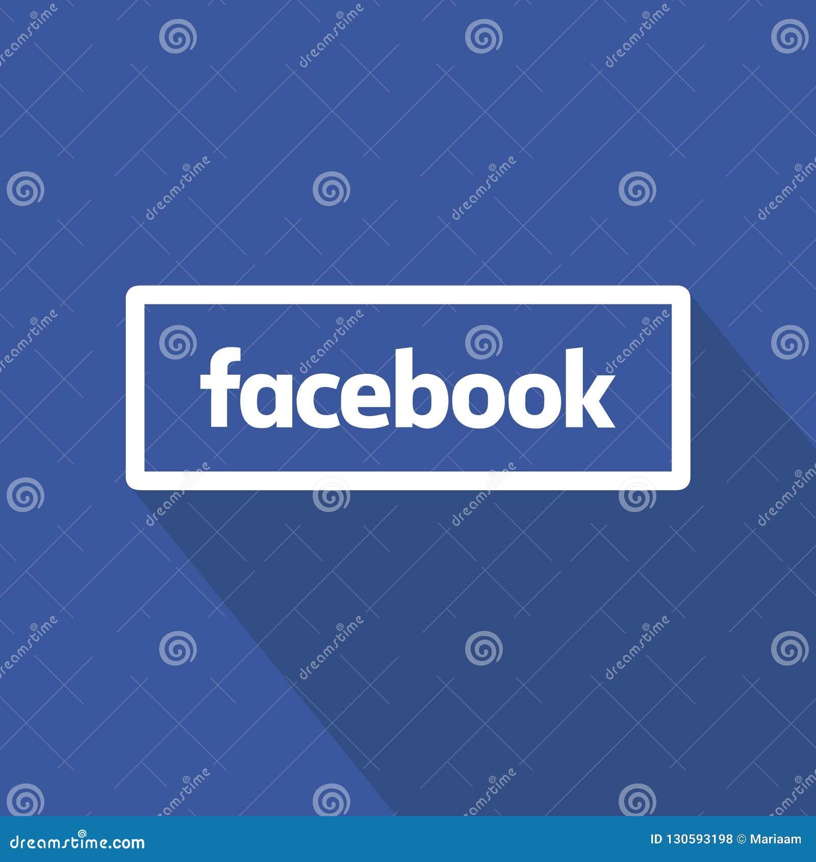 Facebook guzika płaski projekt nad błękitnym tłem Czyści wektorowego symbol 3d medialnego modela znaka ogólnospołeczny biel