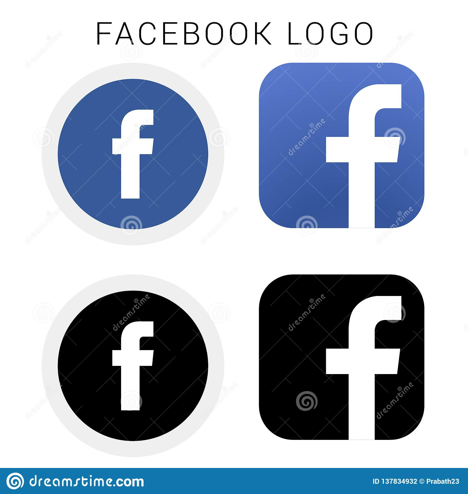 Facebook Icon Logo With Black White And Vector File Editorial