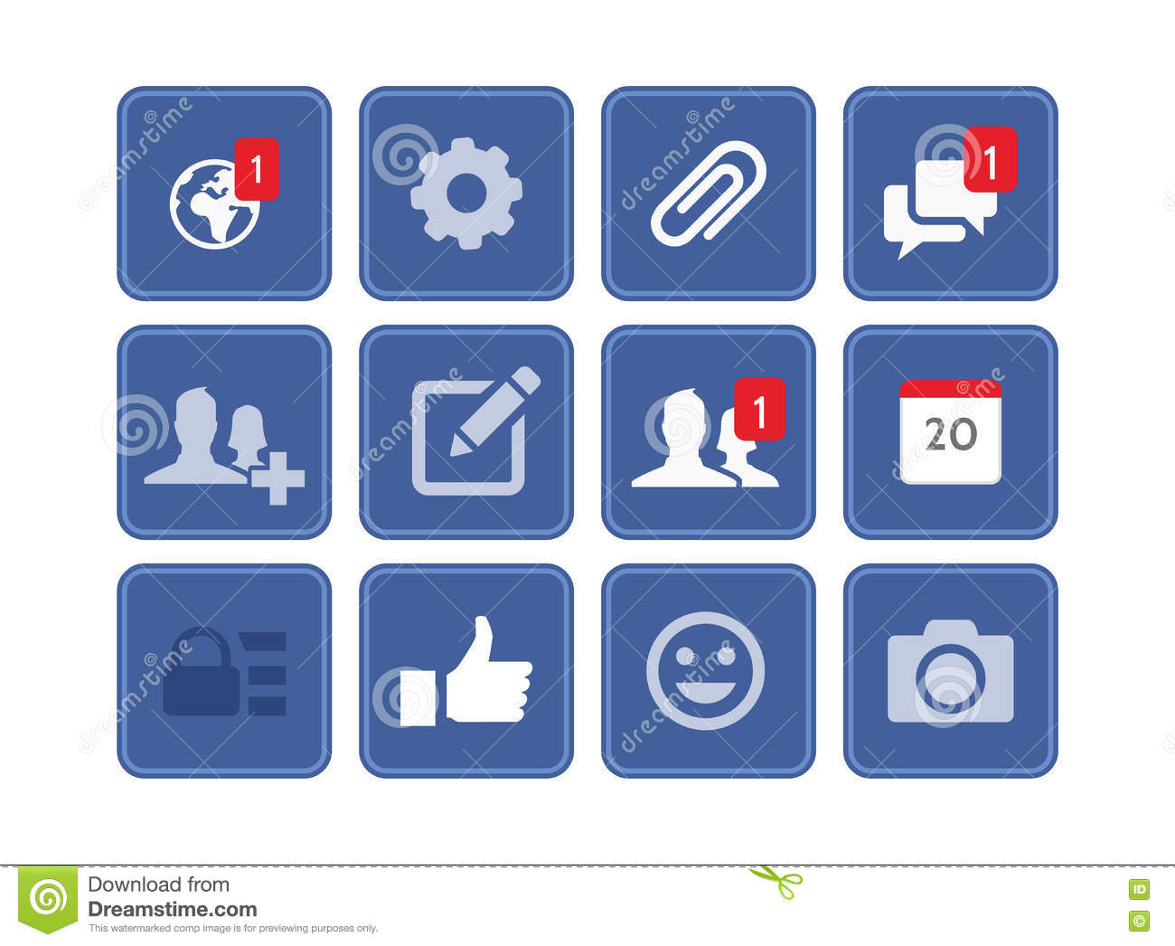 FACEBOOK VECTOR EDITABLE ICON SET ISOLATED ON WHITE