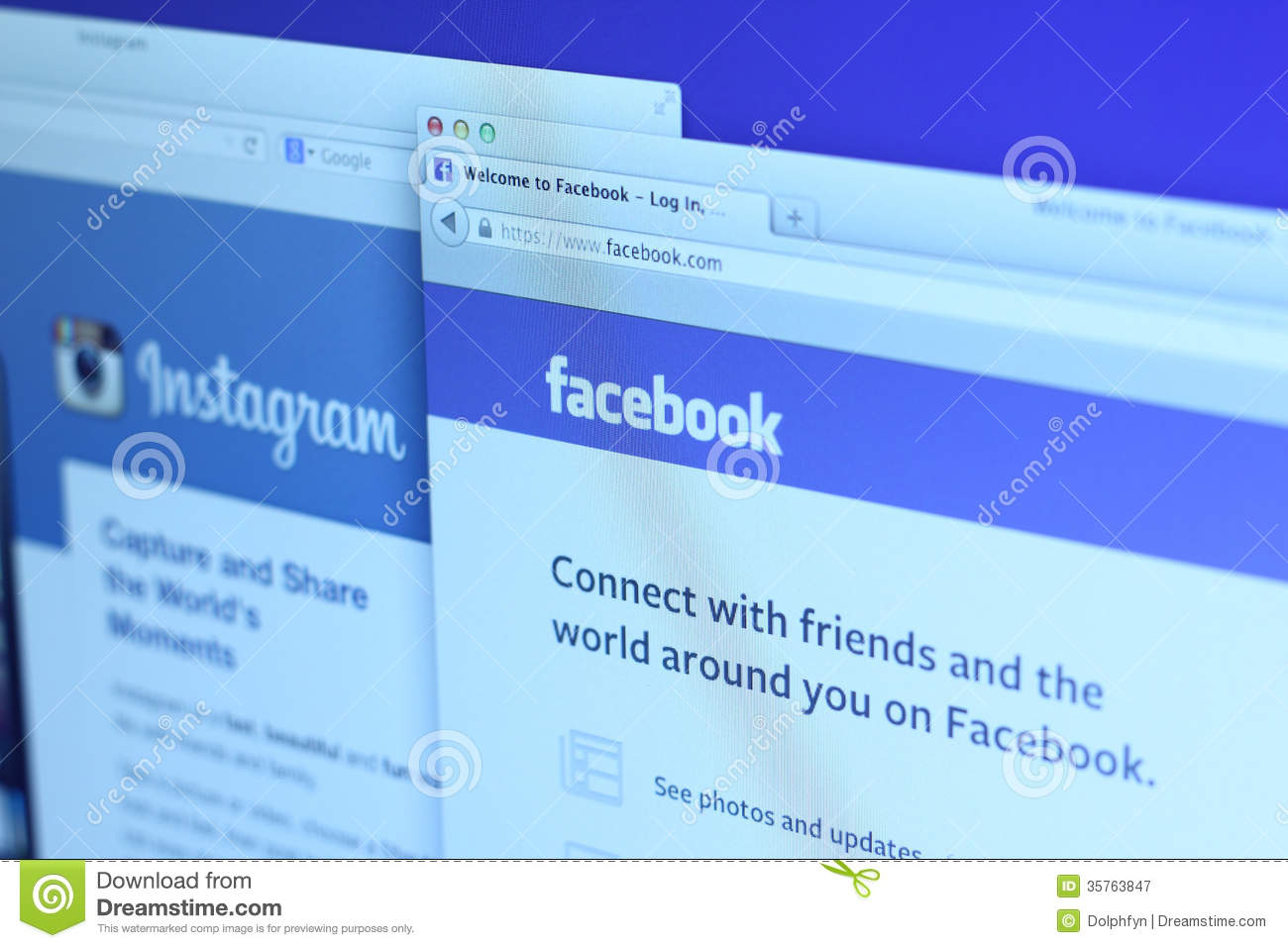Facebook and Instagram main webpage