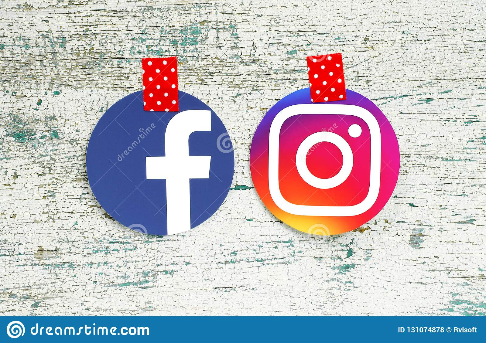 Facebook And Instagram Round Icons Taped With Red In White Dots