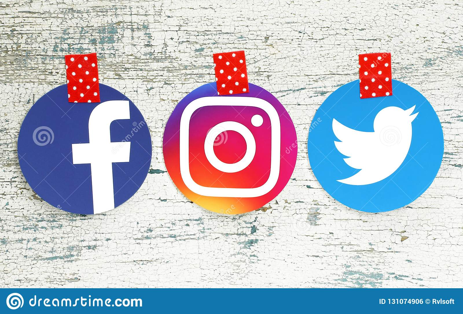 Facebook Instagram And Twitter Round Icons Editorial Photo Image