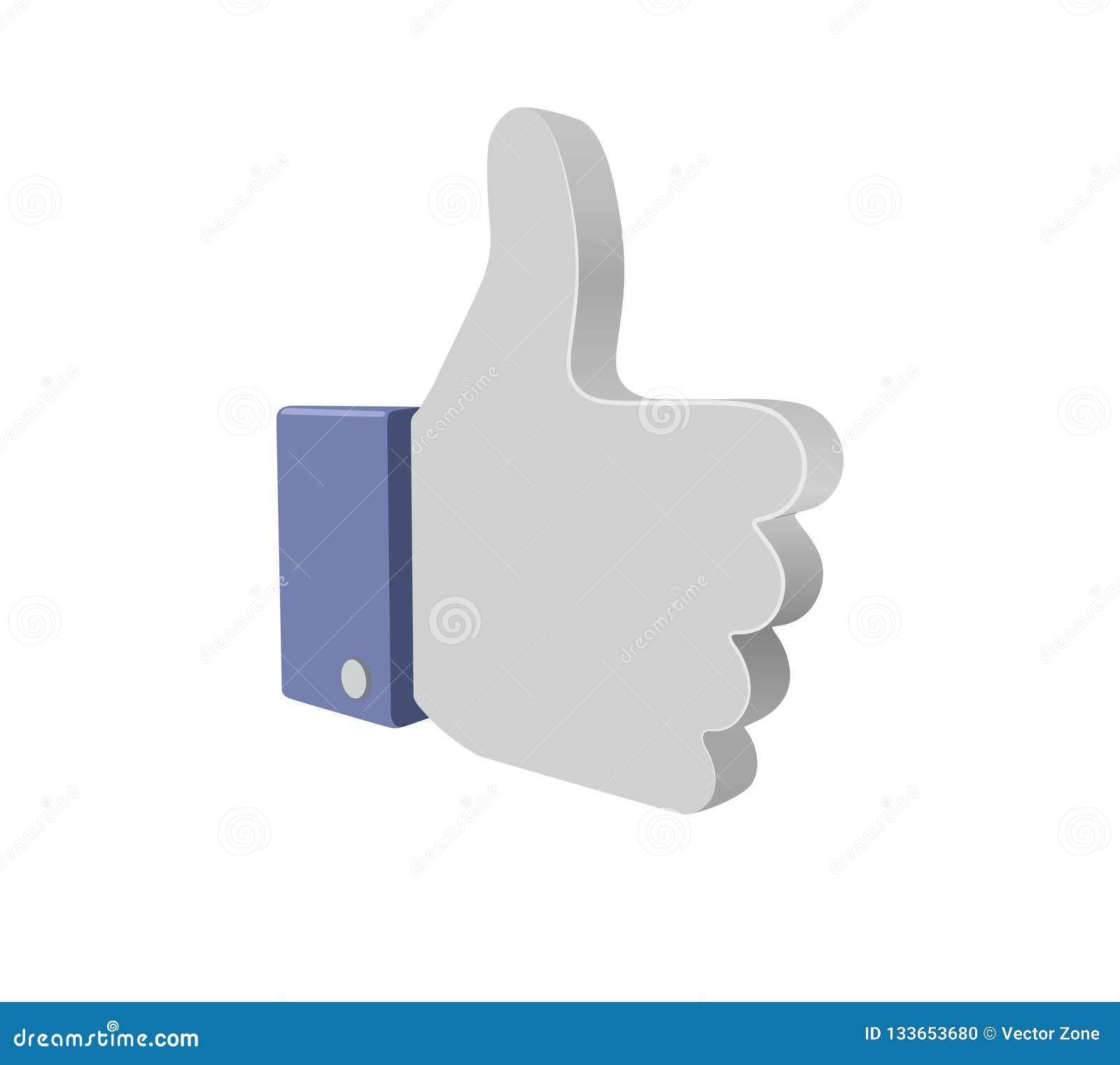 Facebook kciuk W górę guzika 3d znaka