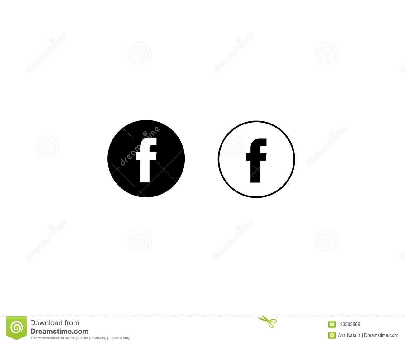 facebook letter f icon social media on white background vector stock