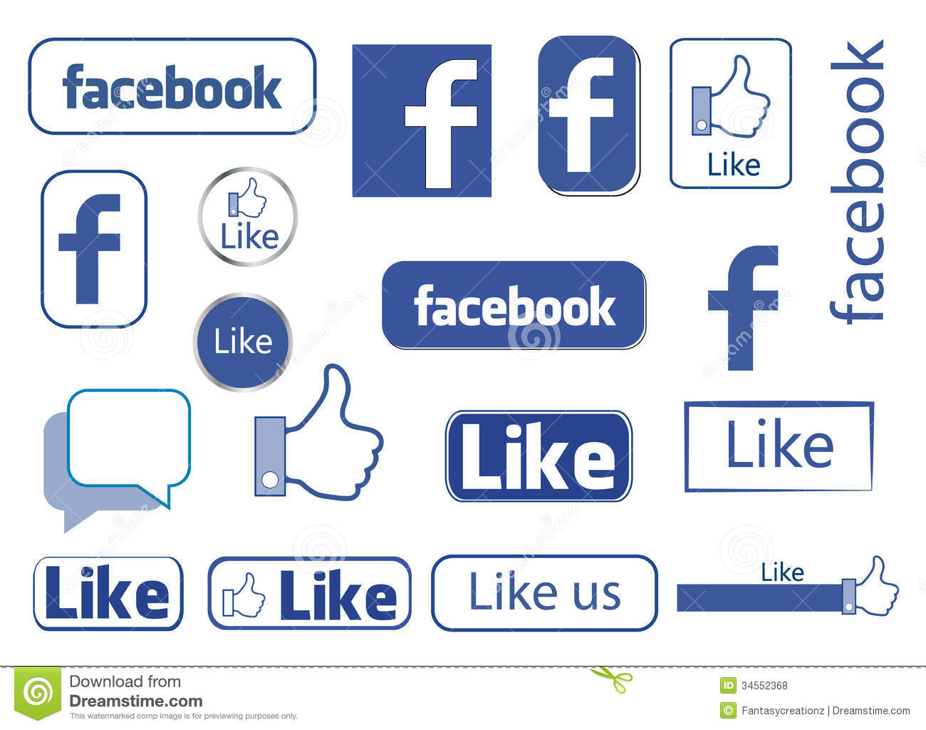Facebook like Editorial Stock Facebook Like Icons