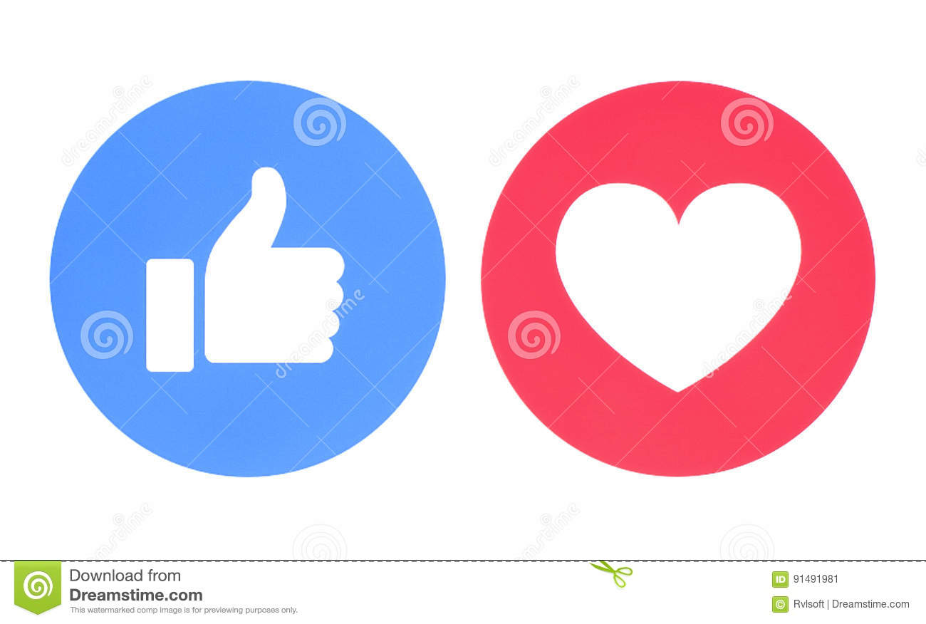 Facebook Like And Love Icons Editorial Photo Illustration Of