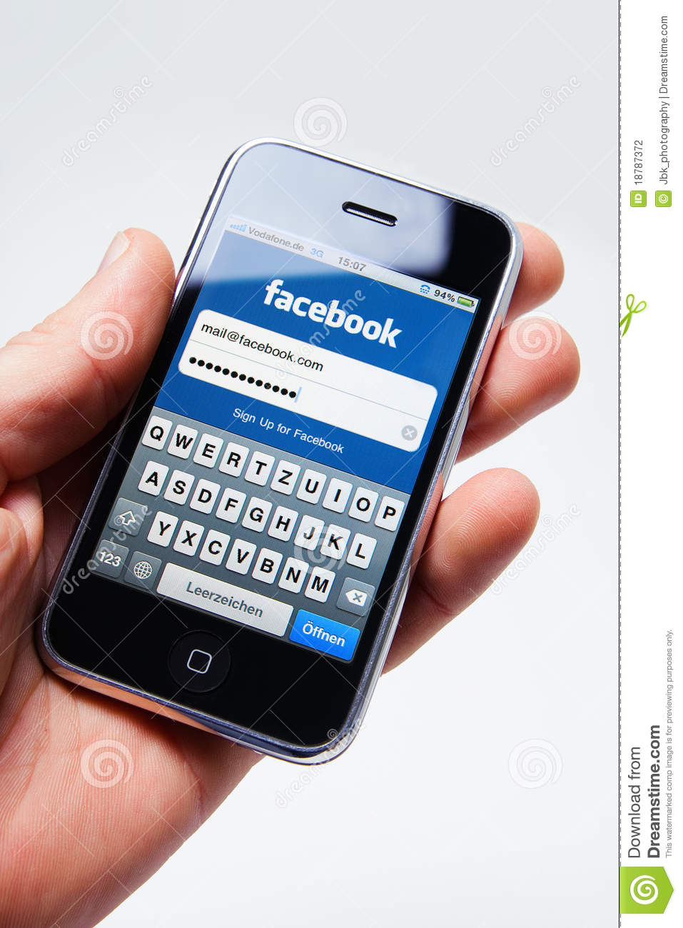 Facebook Log In On Apple Iphone Editorial Photography