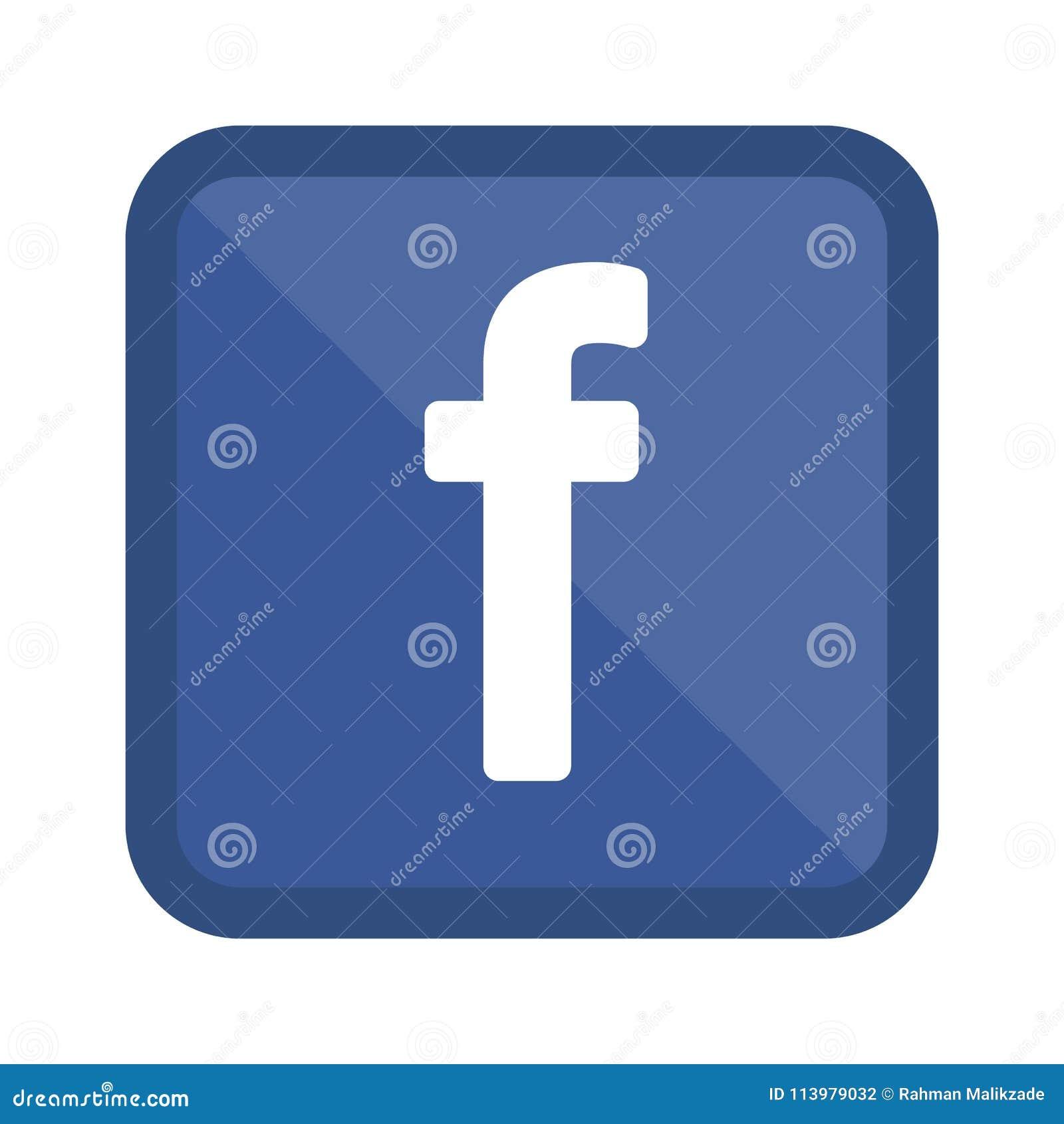 Facebook Logo Letter F Social Media Icon Flat Vector Illustration