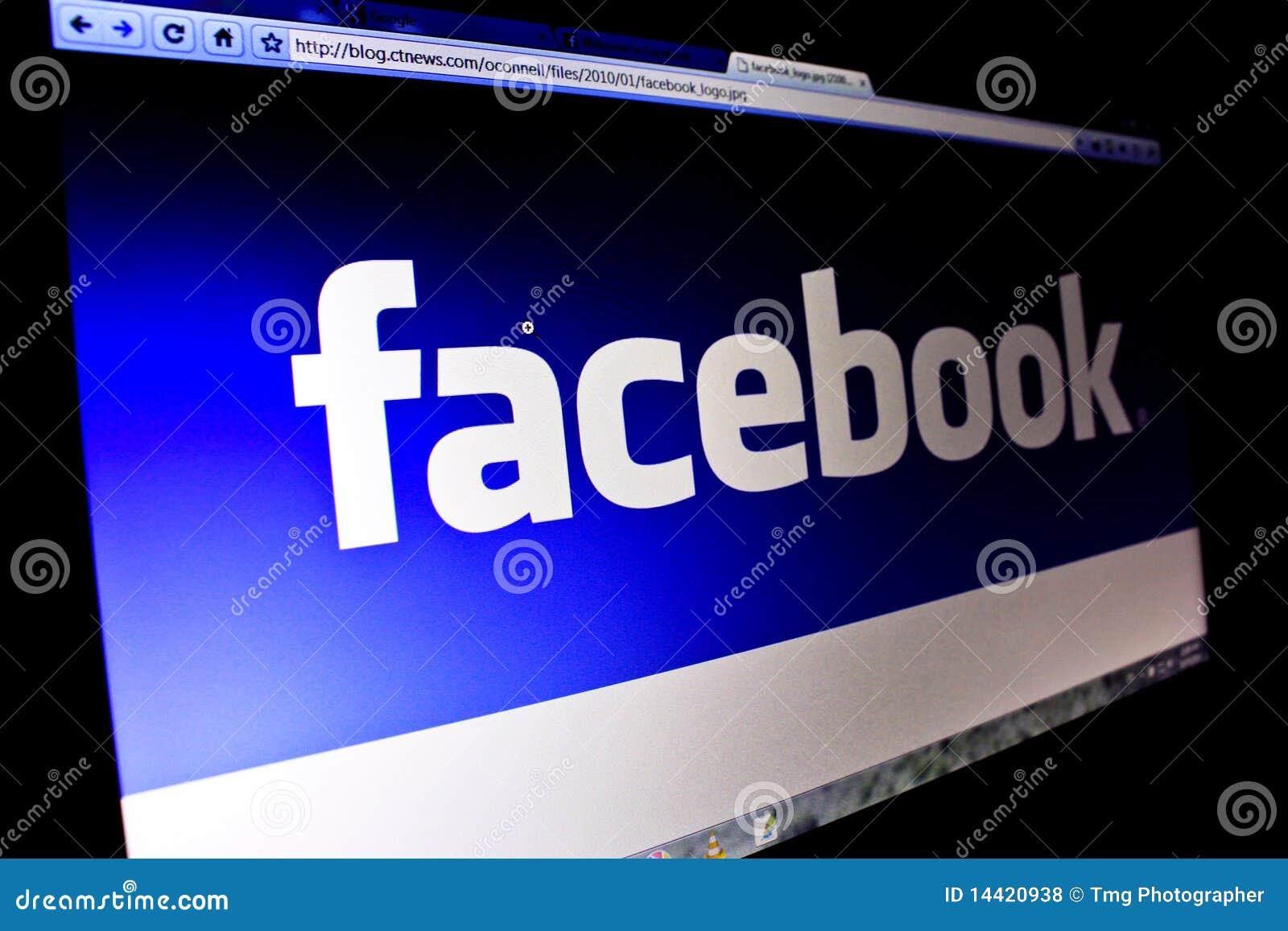 Facebook Logo on PC Screen