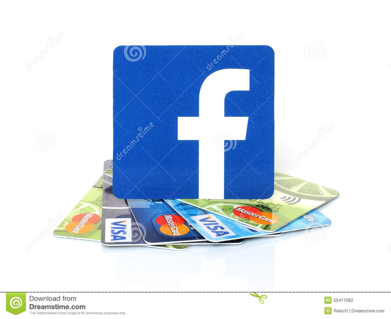 Facebook logo printed on paper and placed on cards visa and facebook logo printed on paper and placed on cards visa and mastercard editorial stock photo biocorpaavc Choice Image