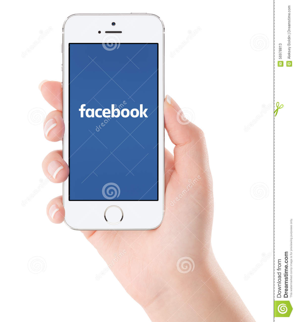 facebook logo on white apple iphone 5s display in female