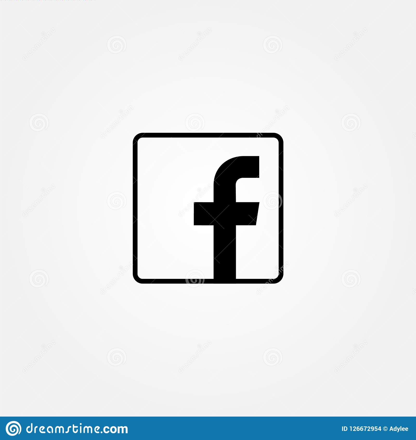 Stock Vector Facebook Icon With Line Style Editorial Stock Image