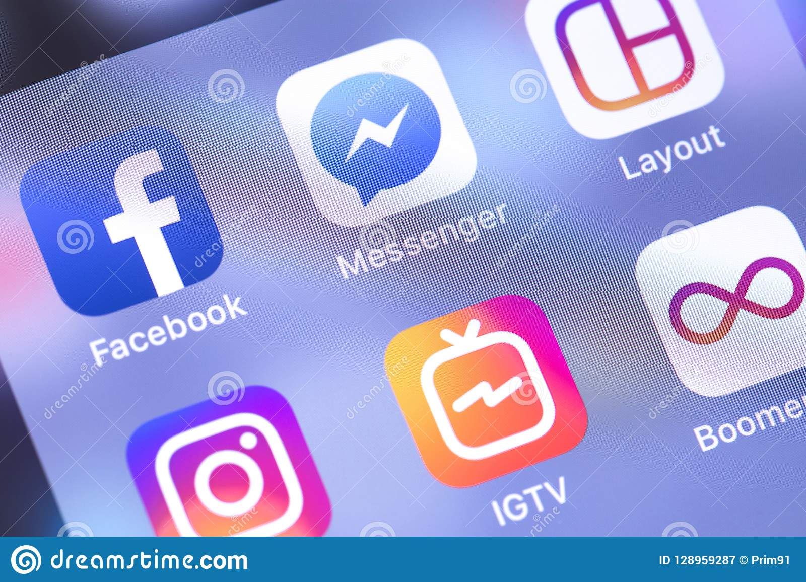 Facebook, Messenger, Instagram Apps Icons On The Screen