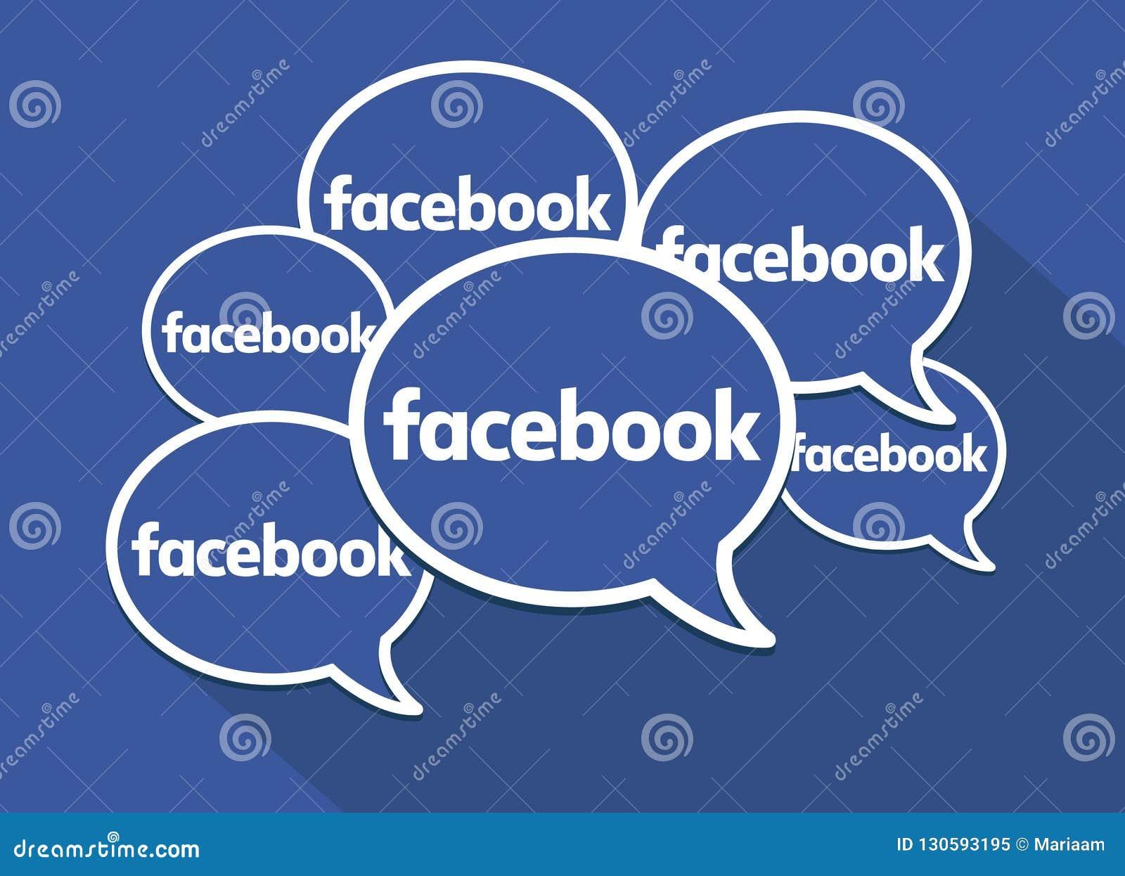 Facebook mowy bąble Czyści wektorowego symbol Ogólnospołeczni środki, networking i komunikacje,