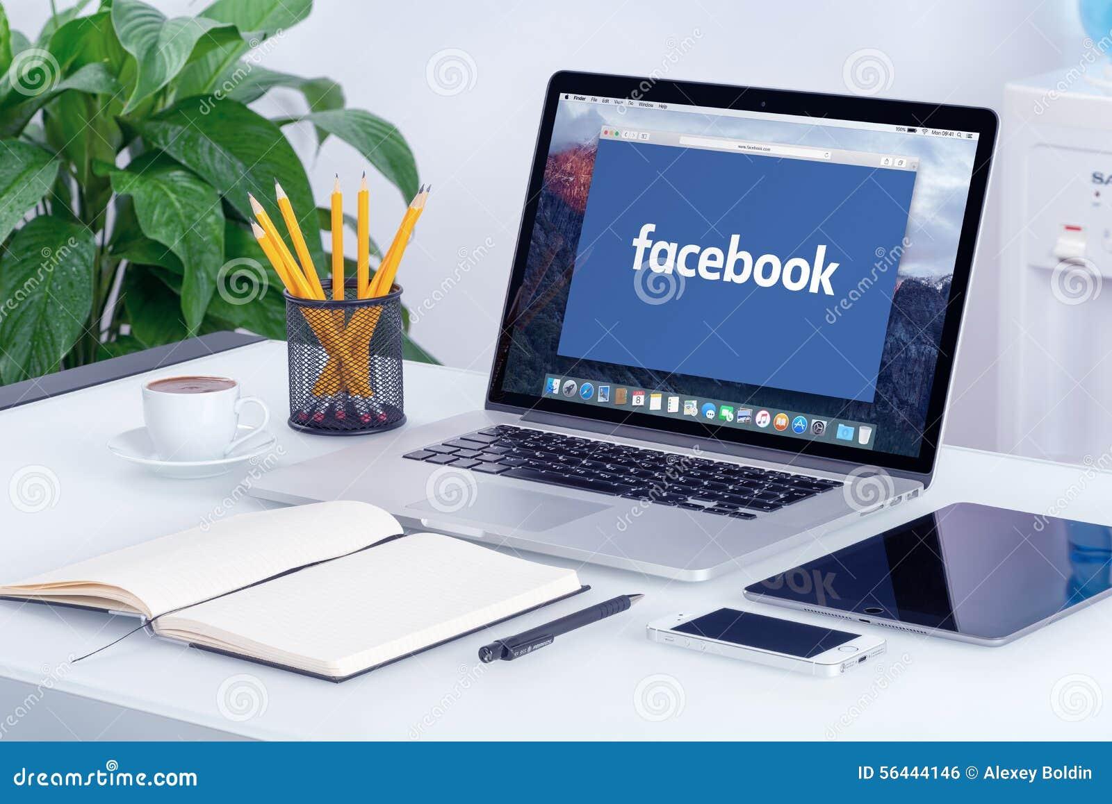 Facebook New Logo On The Apple Macbook Pro Screen
