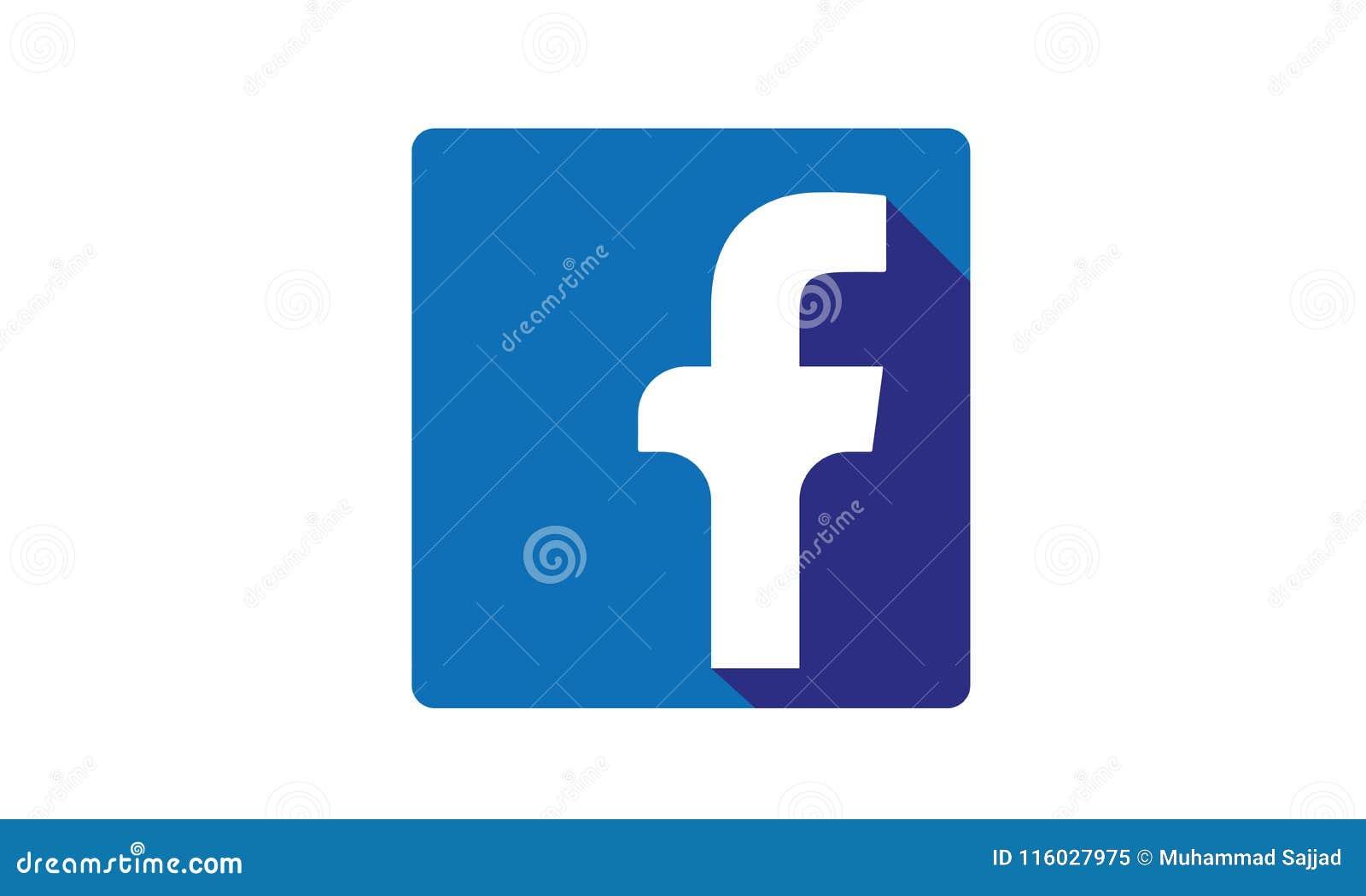 Facebook Social Media Icon Logo With Shadow